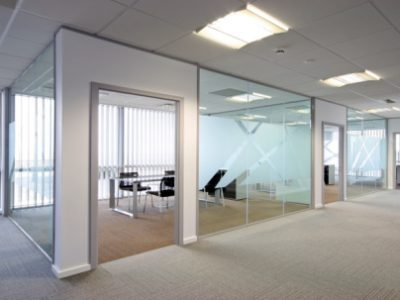 Open plan office lit by natural and artificial light